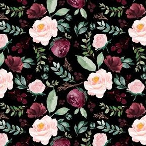 "4""  Wild at Heart Florals / Black"