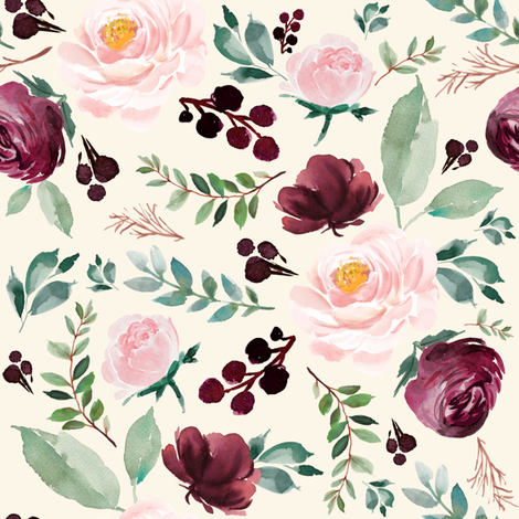 """8""""  Wild at Heart Florals / Ivory fabric by shopcabin on Spoonflower - custom fabric"""