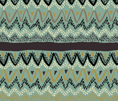 Boho - Neutral Colorway with Soft Greens fabric by scarlette_soleil on Spoonflower - custom fabric