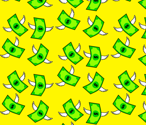 green flying money dollar signs notes banknotes pop art wings currency  fabric by raveneve on Spoonflower - custom fabric