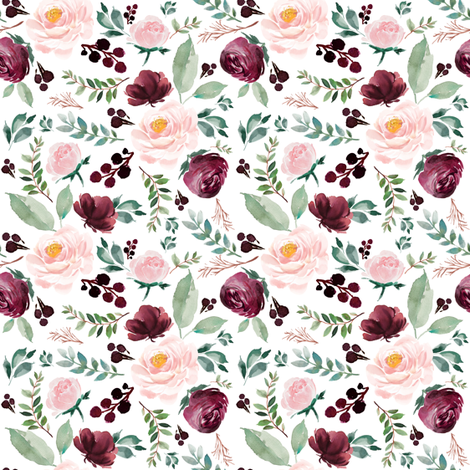 "4"" Wild at Heart Florals / White fabric by shopcabin on Spoonflower - custom fabric"