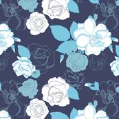 Roses In Bloom - Navy Colorway