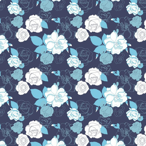 Roses In Bloom - Navy Colorway