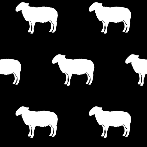 sheep on black fabric by littlearrowdesign on Spoonflower - custom fabric