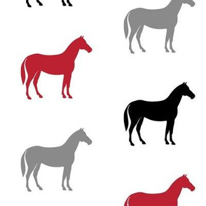 multi horses  - black and red  farm collection