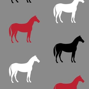 multi horses on grey - black and red  farm collection