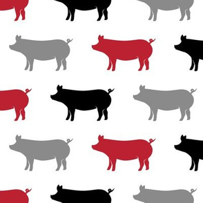 multi pigs - red, grey, black