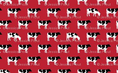 (large scale) cows on red - farm fabric