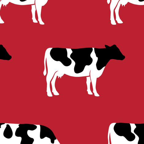 (large scale) cows on red - farm fabric fabric by littlearrowdesign on Spoonflower - custom fabric