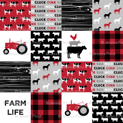 farm life wholecloth - black and red woodgrain