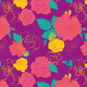 Roses In Bloom -Bright and Bold
