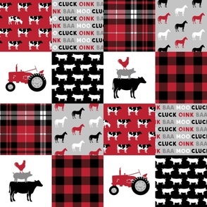 farm life wholecloth - black and red plaid