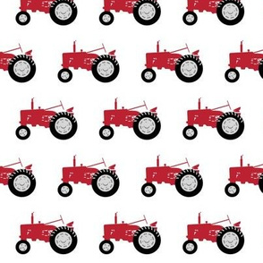 red tractors - farm fabric