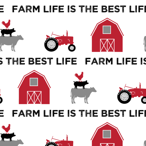 farm life is the best life - black and red farm collection fabric by littlearrowdesign on Spoonflower - custom fabric