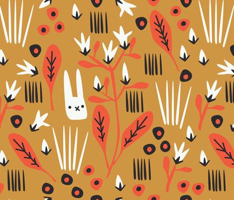 Rabunzel in Ochre fabric by rachel_eleanor on Spoonflower - custom fabric