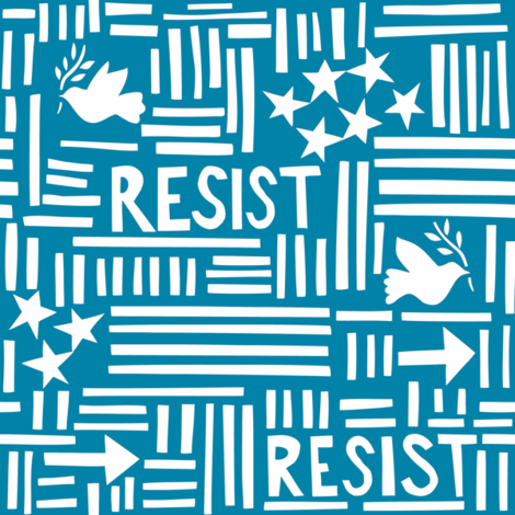 Resist (small blue) fabric by thelongthread on Spoonflower - custom fabric