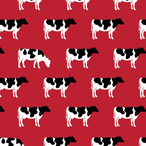 cows on red - farm fabric fabric by littlearrowdesign on Spoonflower - custom fabric