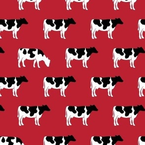 cows on red - farm fabric