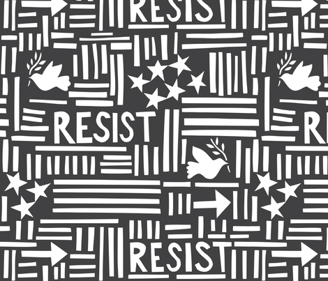 Resist (large gray) fabric by thelongthread on Spoonflower - custom fabric