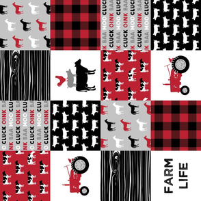 farm life wholecloth (90) - black and red woodgrain