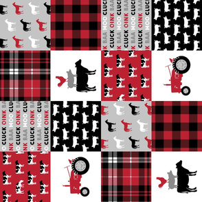 farm life wholecloth (90) -  plaid black and red