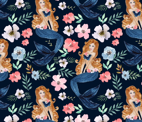 mermaid flowers fabric by teart on Spoonflower - custom fabric