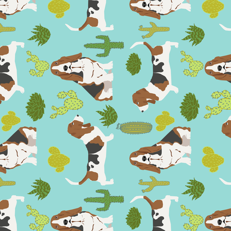 basset hound mint cactus sweet pet dog summer tropical trendy design plants for basset hound owners fabric by petfriendly on Spoonflower - custom fabric