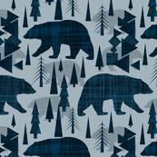 bear and tree, woodland