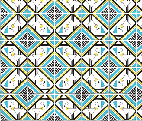 Memphis Blue & Yellow fabric by norachan on Spoonflower - custom fabric