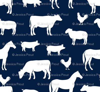 farm animal medley - navy