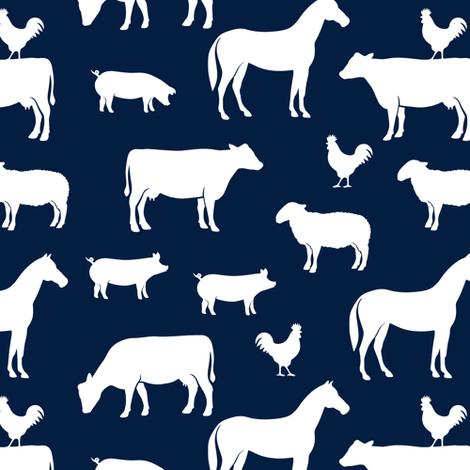 farm animal medley - navy fabric by littlearrowdesign on Spoonflower - custom fabric