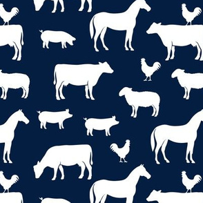 farm animal medley - navy