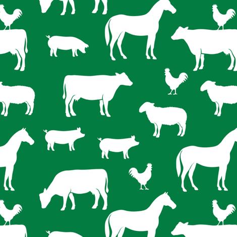 farm animal medley - green fabric by littlearrowdesign on Spoonflower - custom fabric