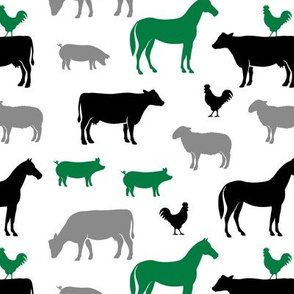farm animal medley - green and black