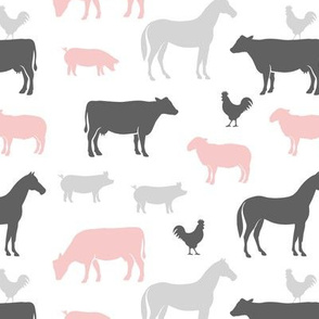 farm animal medley - pink and grey