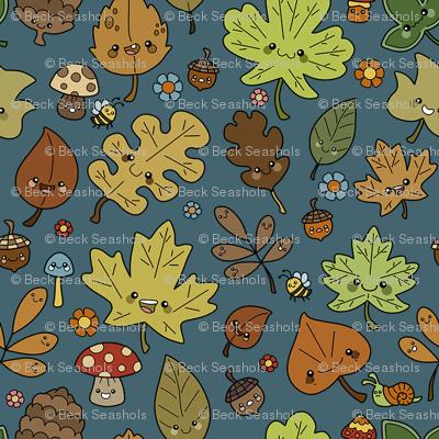 Tiny Kawaii Leaves on Blue