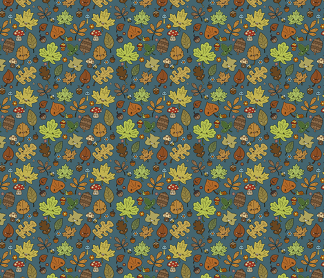 Tiny Kawaii Leaves on Blue fabric by beckadoodles on Spoonflower - custom fabric