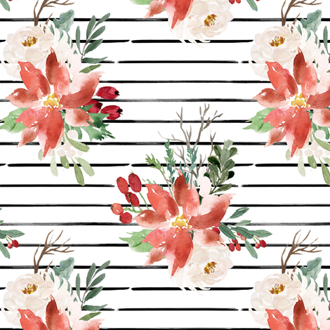 """6"""" Holiday Lights Florals // Black and White Stripes fabric by hipkiddesigns on Spoonflower - custom fabric"""