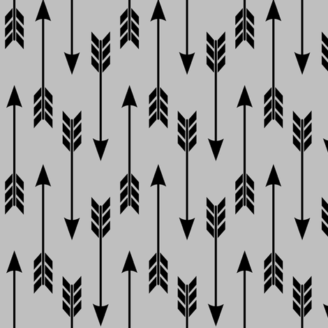 Black Arrows – Gray Arrow Run fabric by gingerlous on Spoonflower - custom fabric