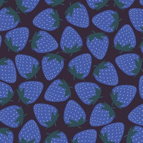 Strawberry - Blue Strawberries on Charcoal