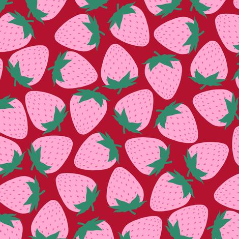 Strawberry - Red fabric by siya on Spoonflower - custom fabric