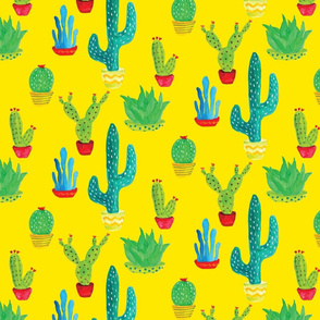 Painted Cactus on Yellow