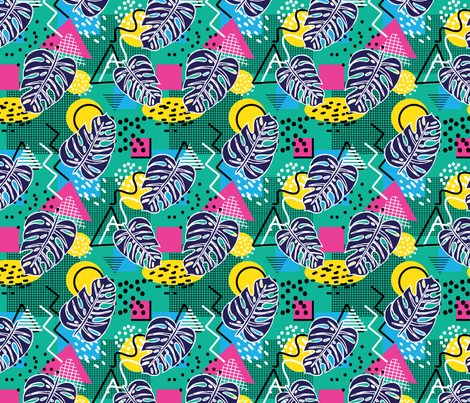 Memphis Monsteras fabric by danielle_kinleyryland on Spoonflower - custom fabric