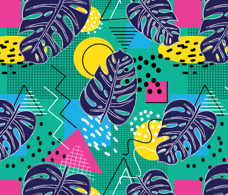 Memphis Monsteras fabric by danielle_kinleyryland on Spoonflower - custom fabric