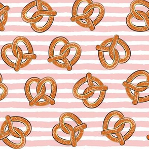 soft pretzels (pink stripes) - food fabric