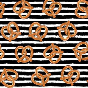 soft pretzels (black stripes) - food fabric