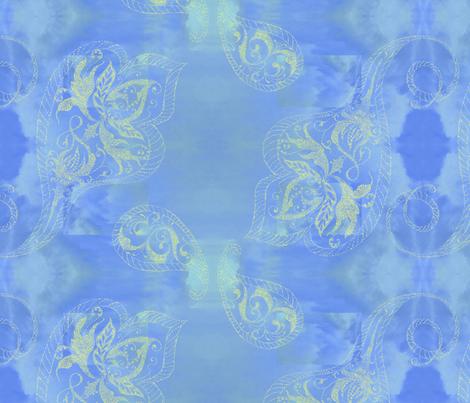 Sea-Dragons-cobalt-paisley fabric by greenlotus on Spoonflower - custom fabric