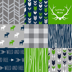 Moose Patchwork - -bright green, navy, grey