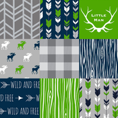 Moose Patchwork - bright green, navy, grey