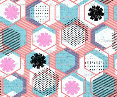 African Memphis hexagons